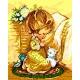 Haft krzyżykowy - do wyboru: kanwa z nadrukiem, nici Ariadna/DMC, wzór graficzny - Modlitwa dziewczynki (No 5103)