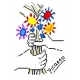 Haft krzyżykowy - do wyboru: kanwa z nadrukiem, nici Ariadna/DMC, wzór graficzny - Bukiet kwiatów Picasso (No 5114)