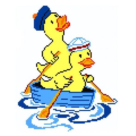 Haft krzyżykowy - do wyboru: kanwa z nadrukiem, nici Ariadna/DMC, wzór graficzny - Kaczuszki w łódce (No 5112)