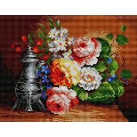 Obrazek do haftu krzyżykowego - Martwa natura - bukiet kwiatów (No 571)