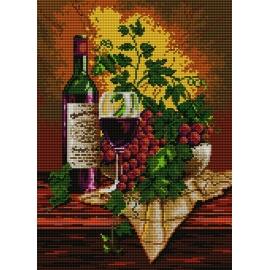 Haft krzyżykowy - do wyboru: kanwa z nadrukiem, nici Ariadna/DMC, wzór graficzny - Martwa natura - wino (No 5089) VI