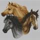 Haft krzyżykowy - do wyboru: kanwa z nadrukiem, nici Ariadna/DMC, wzór graficzny - Konie (No 7022) VI