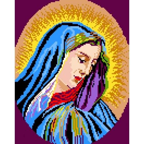 Haft krzyżykowy - do wyboru: kanwa z nadrukiem, nici Ariadna/DMC, wzór graficzny -  Madonna (No 377)