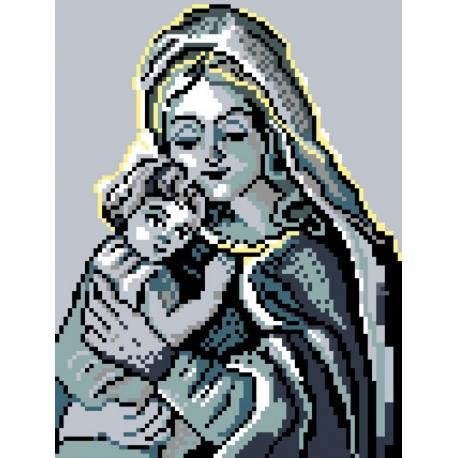 Haft krzyżykowy - do wyboru: kanwa z nadrukiem, nici Ariadna/DMC, wzór graficzny - Maria z dzieciątkiem (No 378)