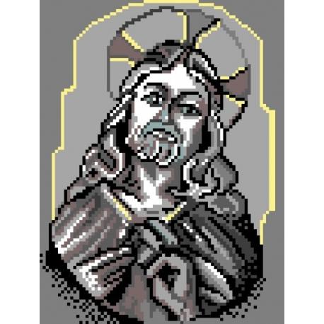 Haft krzyżykowy - kanwa z nadrukiem Chrystus (No 379)