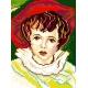 Haft krzyżykowy - do wyboru: kanwa z nadrukiem, nici Ariadna/DMC, wzór graficzny - Dziewczynka w czerwonym kapeluszu (No 390)