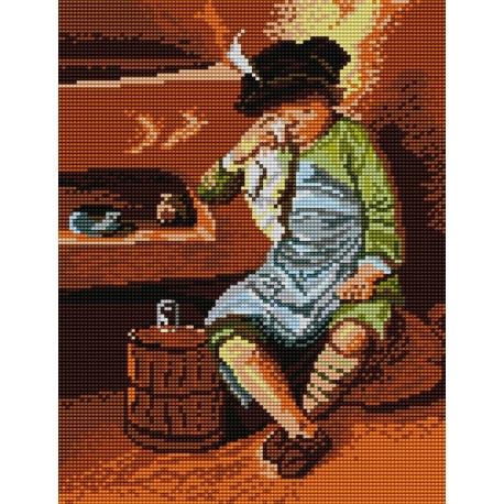 Haft krzyżykowy - do wyboru: kanwa z nadrukiem, nici Ariadna/DMC, wzór graficzny - Płaczący chłopiec (No 5115)