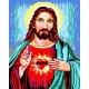 Haft krzyżykowy - do wyboru: kanwa z nadrukiem, nici Ariadna/DMC, wzór graficzny -  Jezus Chrystus VI (No 533)