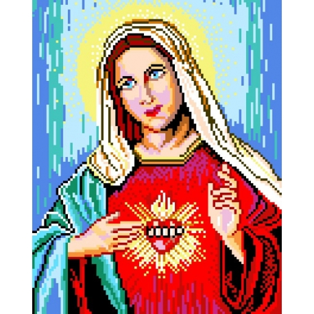 Haft krzyżykowy - do wyboru: kanwa z nadrukiem, nici Ariadna/DMC, wzór graficzny - Matka Boska (No 532)
