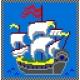 Haft krzyżykowy - do wyboru: kanwa z nadrukiem, nici Ariadna/DMC, wzór graficzny - Statek (No 567)