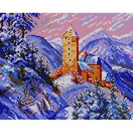 Haft krzyżykowy - kanwa z nadrukiem Krajobraz zimowy - zamek (No 384)