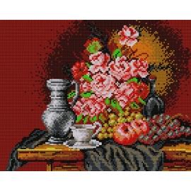 Piękna Martwa natura - bukiet róż (No 505) do haftu ściegiem krzyżykowym