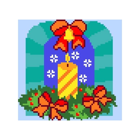 Haft krzyżykowy - do wyboru: kanwa z nadrukiem, nici Ariadna/DMC, wzór graficzny -Świeczka (No 5135)