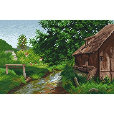 Haft krzyżykowy - do wyboru: kanwa z nadrukiem, nici Ariadna/DMC, wzór graficzny - Na wsi wg E. Zetsche (No 94026)