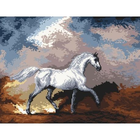 Haft krzyżykowy - do wyboru: kanwa z nadrukiem, nici Ariadna/DMC, wzór graficzny - Koń podczas burzy wg S. Gilpin (No 94030)