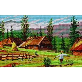 Obrazek do haftowania krzyżykiem - Krajobraz górski (No 393)