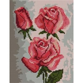 Haft krzyżykowy - do wyboru: kanwa z nadrukiem, nici Ariadna/DMC, wzór graficzny - Róże (No 5099)