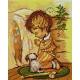 Haft krzyżykowy - do wyboru: kanwa z nadrukiem, nici Ariadna/DMC, wzór graficzny - Modlitwa chłopca (No 5104)