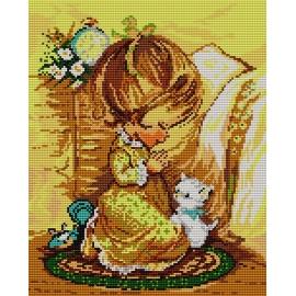 Kanwa z nadrukiem - Modlitwa dziewczynki (No 5103)