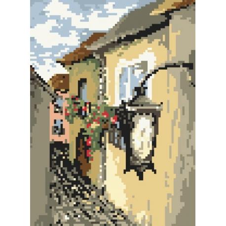 Haft krzyżykowy - do wyboru: kanwa z nadrukiem, nici Ariadna/DMC, wzór graficzny - Latarnia wg S. Sikora (No 94506)
