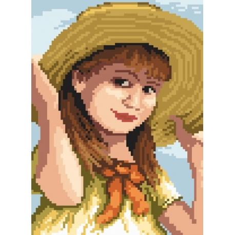 Haft krzyżykowy - do wyboru: kanwa z nadrukiem, nici Ariadna/DMC, wzór graficzny - Dziewczynka z kokardką (No 94517)