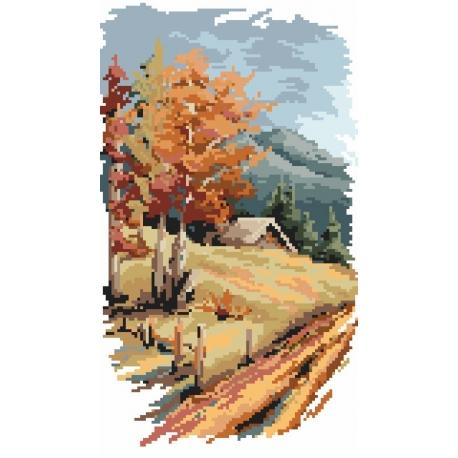 Haft krzyżykowy - do wyboru: kanwa z nadrukiem, nici Ariadna/DMC, wzór graficzny - Cztery pory roku - jesień (No 94525)