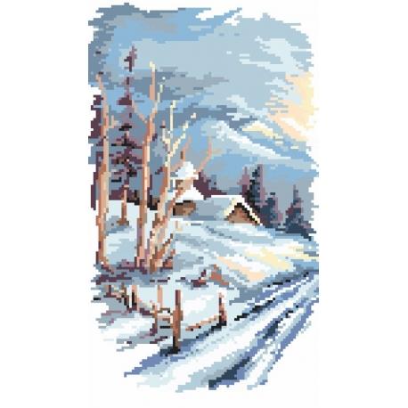 Haft krzyżykowy - do wyboru: kanwa z nadrukiem, nici Ariadna/DMC, wzór graficzny - Cztery pory roku - zima (No 94526)