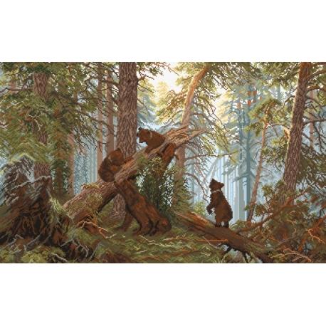 Haft krzyżykowy - do wyboru: kanwa z nadrukiem, nici Ariadna/DMC, wzór graficzny - Poranek w sosnowym lesie Szyszkin  (No 9748)