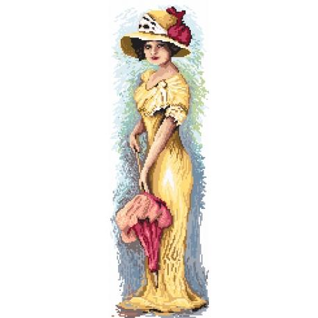 Haft krzyżykowy - do wyboru: kanwa z nadrukiem, nici Ariadna/DMC, wzór graficzny - Kobieta z parasolką (No 94543)