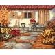 Haft krzyżykowy - do wyboru: kanwa z nadrukiem, nici Ariadna/DMC, wzór graficzny - Jesienny ogródek (No 94534)
