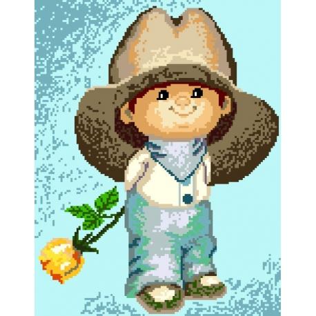 Haft krzyżykowy - do wyboru: kanwa z nadrukiem, nici Ariadna/DMC, wzór graficzny - Chłopczyk w kapeluszu (No 5148)