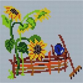 Haft krzyżykowy - do wyboru: kanwa z nadrukiem, nici Ariadna/DMC, wzór graficzny - Płot i słoneczniki (No 96)