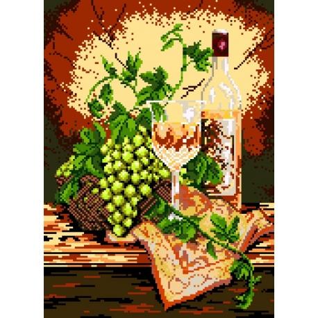 Kanwa z nadrukiem do haftu - Martwa natura - białe wino (No 5178)