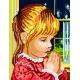 Haft krzyżykowy - do wyboru: kanwa z nadrukiem, nici Ariadna/DMC, wzór graficzny - Modlitwa dziewczynki (No 5162)