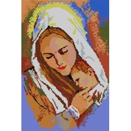 Haft krzyżykowy - do wyboru: kanwa z nadrukiem, nici Ariadna/DMC, wzór graficzny - Madonna (No 341)