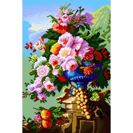 Haft krzyżykowy - do haftu ściegiem krzyżykowym -Kwiaty na patio wg Pierre Bourgogne (No 5177)