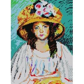 Haft krzyżykowy - do wyboru: kanwa z nadrukiem, nici Ariadna/DMC, wzór graficzny - Fillette w kapeluszu Mary Cassatt (No 363)