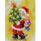 Haft krzyżykowy - do wyboru: kanwa z nadrukiem, nici Ariadna/DMC, wzór graficzny - Święty Mikołaj (No 375)
