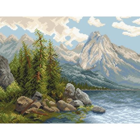 Haft krzyżykowy - do wyboru: kanwa z nadrukiem, nici Ariadna/DMC, wzór graficzny - Jezioro w górach VI (No 9757)