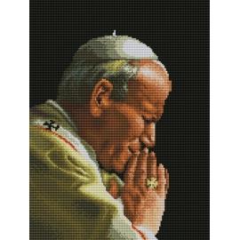 Haft krzyżykowy - do wyboru: kanwa z nadrukiem, nici Ariadna/DMC, wzór graficzny - Jan Paweł II (No 7014)