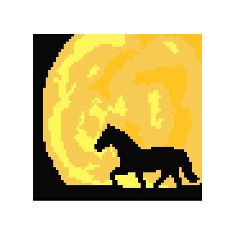Haft krzyżykowy - do wyboru: kanwa z nadrukiem, nici Ariadna/DMC, wzór graficzny - Koń (No 5205)