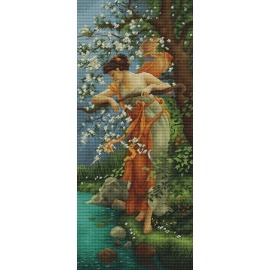 Haft krzyżykowy - do wyboru: kanwa z nadrukiem, nici Ariadna/DMC, wzór graficzny - Wiosenne piękno wg Hans Zatzka (No 7027) VI