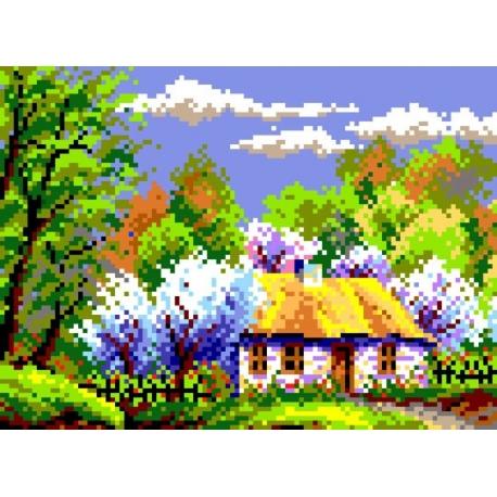 Haft krzyżykowy - do wyboru: kanwa z nadrukiem, nici Ariadna/DMC, wzór graficzny - Krajobraz wiosenny (No 5182)