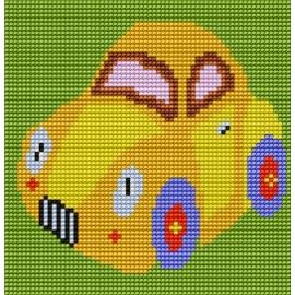 Haft krzyżykowy - do wyboru: kanwa z nadrukiem, nici Ariadna/DMC, wzór graficzny - Żółty samochód (No 5062)