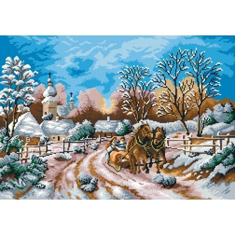 Haft krzyżykowy - do wyboru: kanwa z nadrukiem, nici Ariadna/DMC, wzór graficzny - Wiejska droga zimą (No 7005)