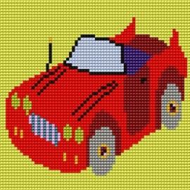 Haft krzyżykowy - do wyboru: kanwa z nadrukiem, nici Ariadna/DMC, wzór graficzny - Czerwony samochód (No 5063)