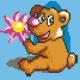 Haft krzyżykowy - do wyboru: kanwa z nadrukiem, nici Ariadna/DMC, wzór graficzny -  Miś z kwiatkiem (No 5219)