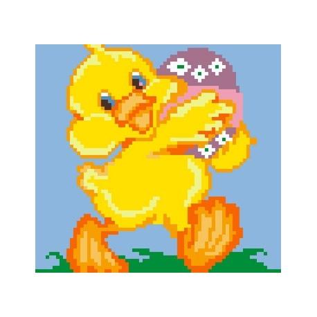 Haft krzyżykowy - do wyboru: kanwa z nadrukiem, nici Ariadna/DMC, wzór graficzny - Kaczuszka z jajkiem (No 5173)