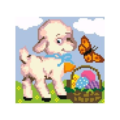 Kanwa z nadrukiem dla dzieci - Owieczka z koszykiem z jajkami (No 5169)