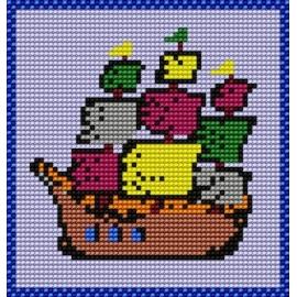 Kanwa z nadrukiem dla dzieci - Statek (No 566)